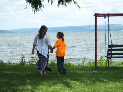Mother and son by the lake...