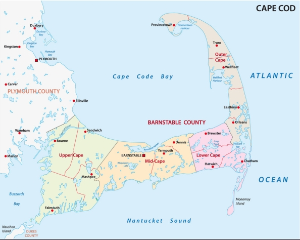 cape cod administrative and political map, united states